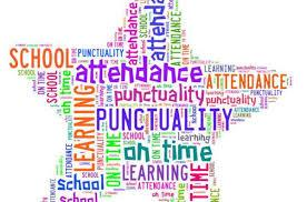 Word art: Attendance, punctuality, school, learning, on time